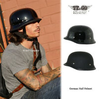 TT&CO Japan Half Motorcycle Helmet Retro German Style Black Motorbike Helmet New