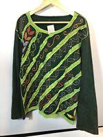 Windhorse XL Sweatshirt Art to Wear Nepal Green Fish Artsy NEW