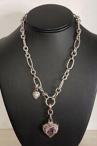 "Judith Ripka Sterling Silver 18"" Necklace w/ CZ Amethyst Heart Enhancer Pendant"