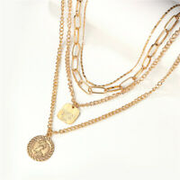 Chic Women Gold Plated Multilayer Clavicle Necklace Pendant Choker Chain Jewelry