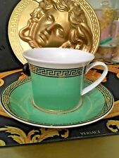VERSACE ROSENTHAL CUP SAUCER TEA COFFEE SET MEDUSA GREEN NEW IN BOX $300