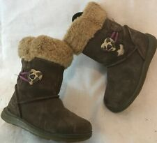 Girls Clarks Brown Suede Boots Size 6F (675ww)