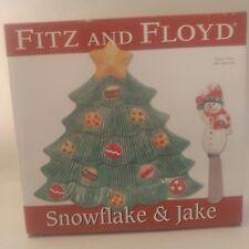Fitz And Floyd Snowflake & Jake Christmas Tree Snack Plate W/ Spreader