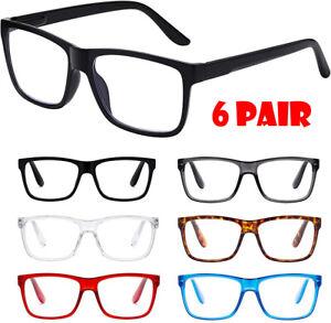 6 Pair Reading Glasses 1.50X Magnification Unisex Men Women Antistrain 1.5X