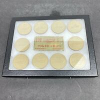 Vintage 10 Boat Embossed Clay Poker Chips with Display Case