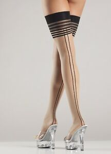 sexy BE WICKED! multiple STRIPES striped TOP back SEAMS thigh HIGHS stockings