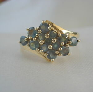 0.77ct Genuine  Certified Natural Alexandrite Cluster Gold Ring