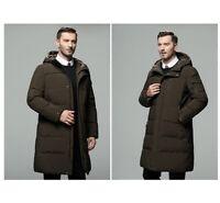 Men's Duck Down Jacket Long Hooded Coat Puffer Parka Thicken Winter Ski Warm New