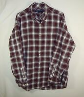 Tommy Hilfiger Mens Button Up Front Casual Dress Shirt Red Plaid Size LARGE L