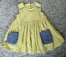 Baby Girl 3-6 Month Next Yellow Blue Grey Short Sleeve Stripe Summer Dress