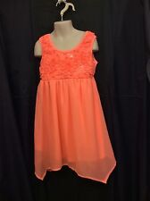 Pogo Club of NY Girl's Bright Coral Dress W/Silk Flowers Sequins Size 7/8 EUC