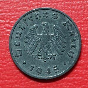 1 Pfennig 1945 F  Deutsches Reich Alliierte Besatzung Zink Münze vorzüglich