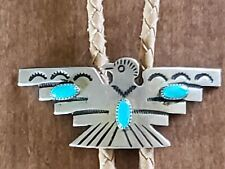 Turquoise Thunderbird Bolo Tie Vintage Southwest Navajo Sterling Silver