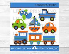 Transportation Vehicles Car Truck Sailboat Airplane Train Blue Orange Clipart