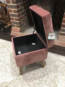 Mid Century Style Pink Salmon Velvet Footstool Storage Trunk 41cm Tall