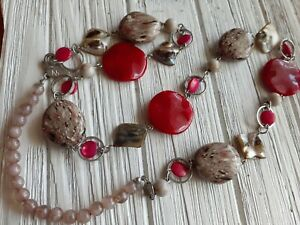"""NY Co Abalone Shell Red Bead Necklace Single strand Silver tone chain 30"""" Long"""