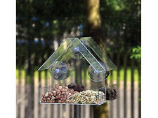 GLASS WINDOW CLEAR VIEWING BIRD FEEDER HOTEL TABLE SEED PEANUT HANGING SUCTION