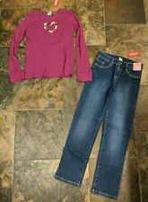 NWT Sz 10 L 12 Gymboree MERRY & BRIGHT Jeans Pants Thermal Purple Top Heart