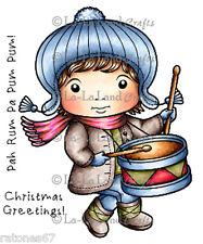 New La La Land Crafts DRUMMER BOY LUKA Cling Rubber Stamp Boy Christmas Holiday