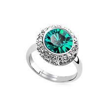 Shiny Crystal Emerald Green Shiny Crystal Silver Circle Adjustable Ring FR184