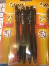 Lot de 4 BIC Bu3 Grip encre noire Biro Stylos Rétractable Medium Bille