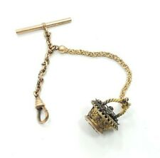 Unique Vintage Victorian Yellow Gold Filled Watch Chain With Basket Fob