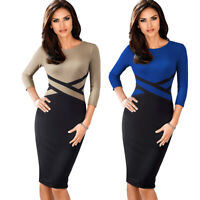 Office Lady  Women's Bodycon Colorblock  Sheath Pencil Dress Work Business Skirt