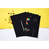 10 Sheets A4 magic scratch art painting paper with drawing stick kids gift toy T