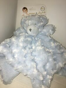 Blankets and Beyond Teddy Bear Baby Blue Security Blanket Lovey Soft Sherpa