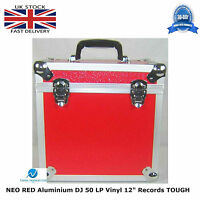 "1 X NEO Aluminium Red DJ Flight Case to Store 50 Vinyl LP 12"" Records STRONG HQ"
