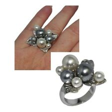 Original Ring Silver Plated Sheet Pearl Grey White Crystal T 54 Jewel