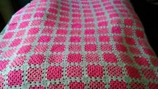 Crocheted Afghan, Pinks in White, handmade 54x72