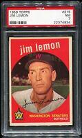 1959 Topps Baseball #215 JIM LEMON Washington Senators PSA 7 NM