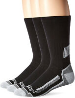 Carhartt Mens 3 Pack Force Performance Work Crew Socks, Black, Shoe Size: 11-15