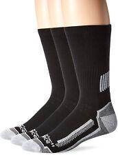 Carhartt Mens 3 Pack Force Performance Work Crew Socks, Black, Shoe Size: 11-15