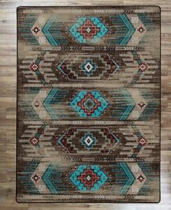 Carlsbad Distressed Turquoise Southwestern Country Farmhouse Area Rug 4' x 5'