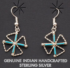 Silver with Turquoise Earrings Native American Zuni Handmade Sterling