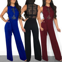 Womens Jumpsuit Rompers Sleeveless Dress Lace Playsuit Party Siamese Trousers