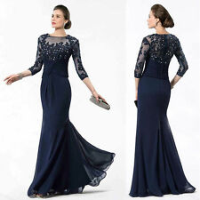 3/4 Sleeve Mother Of The Bride Dresses Long Evening Party Gowns custom Size