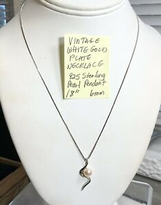 """Vintage White Gold. Plate Necklace Pearl 925 Sterling Pendant 18"""" 6mm"""