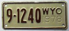 Wyoming 1978 BIG HORN COUNTY MOTORCYCLE License Plate SUPERB QUALITY # 9-1240