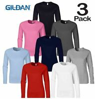 3 x GILDAN SOFTSYLE LADIES LONG SLEEVE T-SHIRT TOP 100% SOFT COTTON CASUAL WOMEN