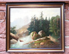 Alpine mountain romanticism: strong Alpine mountain stream, ORIG. Antique Oil Painting Sign. a Melzer
