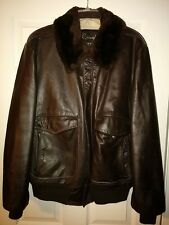LEATHER MOTORCYCLE JACKET-VINTAGE THICK  HARLEY- BOMBER-FUR COLLAR-FULLY LINED