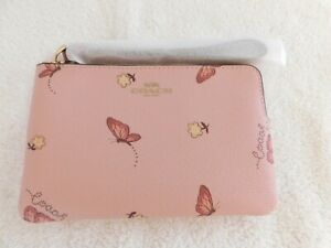 NWT COACH Wristlet Butterfly Pink Leather  Fits iPhone Android