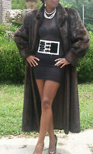 Fab Elegant Full Length SAGA dark brown  Mink Fur Coat Jacket Stroller S-M 10/12