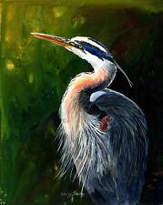 GREAT BLUE HERON 8X10 BIRD print by Artist Sherry Shipley
