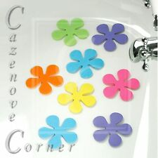 Set of 8 Flower Coloured Anti Slip Bath Pads Bath Mat Suction Base PVC Bathroom