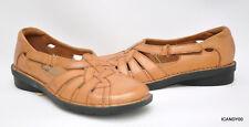 Clarks NIKKI COMMON Leather Sandal  Slip-On Flat Brown/Tan 6.5 New $80