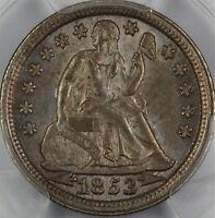1853 Seated Liberty Silver Dime, PCGS MS-63 Arrows, Nice Dark Toning